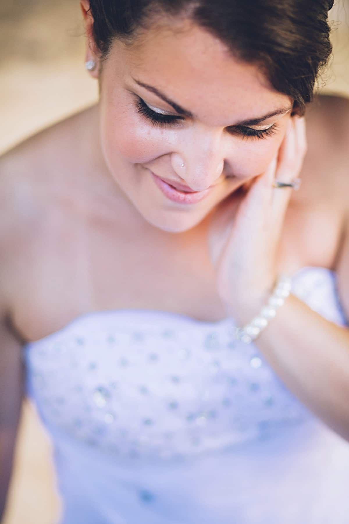 Close up of bride from a tall angle