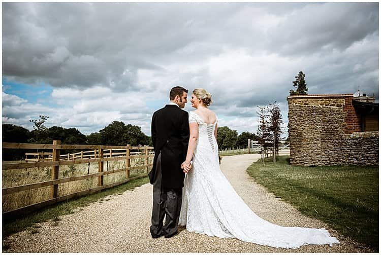 bride and groom outside dodford manor