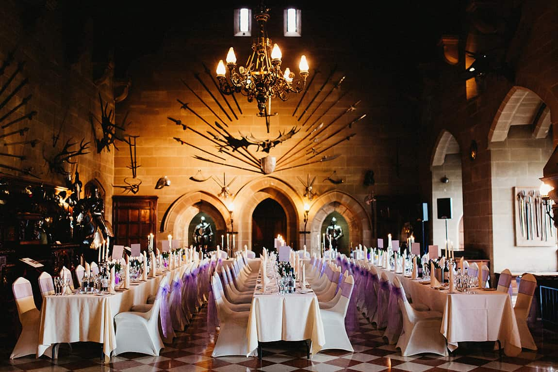 warwick castle wedding breakfast setup