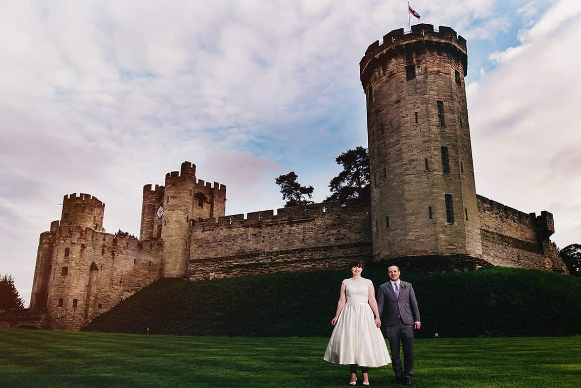 warwick castle wedding east front bride and groom